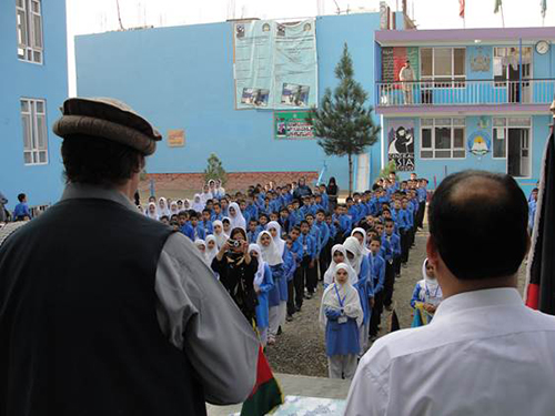 Greg Mortenson addressing CAI schoolchildren in Kabul, Afghanistan, All Rights Reserved, Skyline Ventures Productions