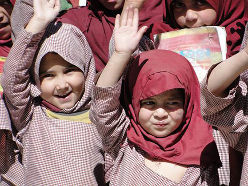 Schoolchildren outside of Skardu, Pakistan, All Rights Reserved, Skyline Ventures Productions