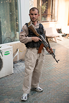 Armed guard for 3000 Cups of Tea film crew, Kabul, Afghanistan